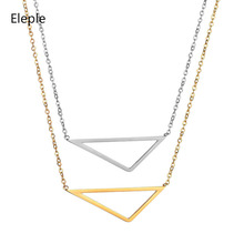 Eleple Simple Stainless Steel Geometry Triangle Necklaces Ladies Minimalist Hollow Sweater Chain Jewelry Manufacturers S-N627