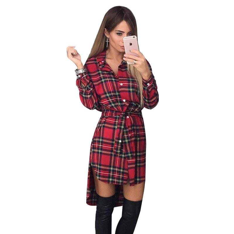 Autumn Dress Women Irregular Plaid Shirt Dresses Sexy Long Sleeve Turn Down Collar Office Casual Dress