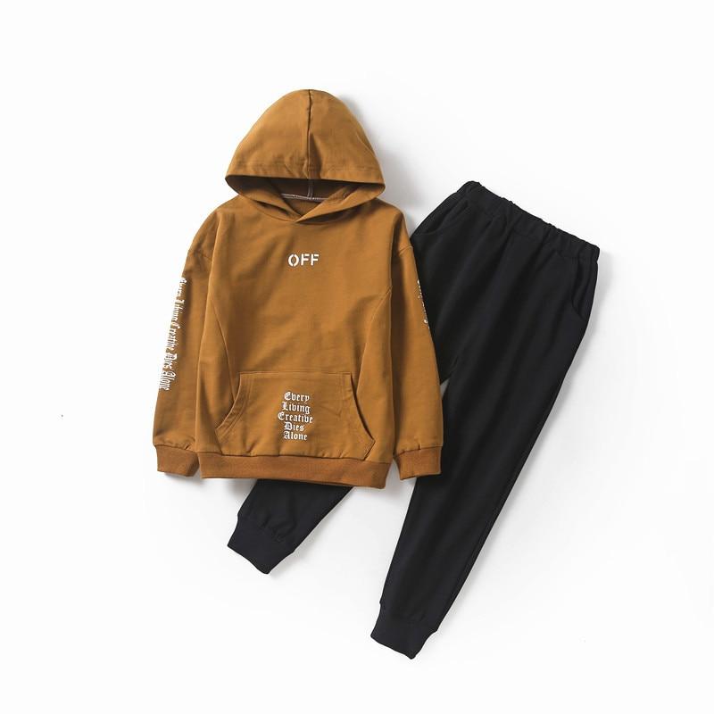 Boys Tracksuit 2018 Autumn Children Clothing Sets Cotton Sweater+Pants 2 Pcs Sport Suit Boy Clothes Set Costumes for 12 14 years цена