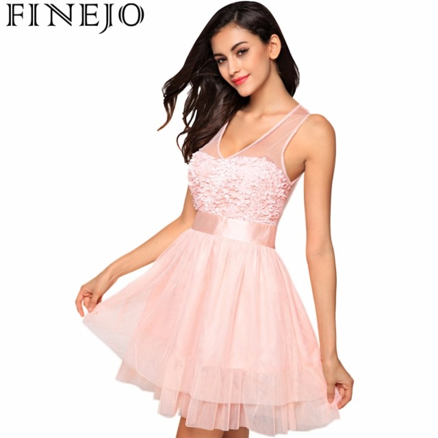 cde061cc622e FINEJO Women Fashion Sexy V Neck Sleeveless High Waist Sheer Mesh Patchwork  Floral Sweet Short Mini Dress