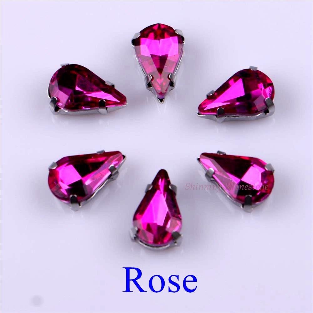 Узкий Каплевидная форма стеклянные стразы с когтями пришить с украшением в виде кристаллов Камень страз с алмазными металлическими Базовая Пряжка 20 шт./упак - Цвет: Rose