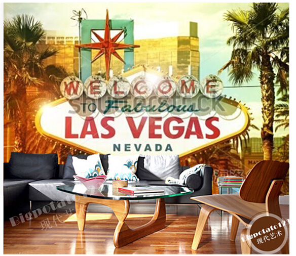 Custom photo wallpaper, Welcome to Fabulous Las Vegas large mural vinyl wallpaper Papel  de parede for the living room TV wall custom photo wallpaper large mural wall stickers 3d stereo digital english living room tv wall papel de parede
