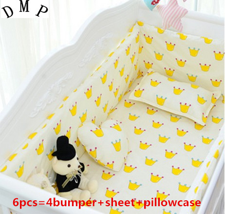 6PCS Children Bedding Set Protector De Cuna Boy Bedding Cot Nursery Bed Set  (4bumpers+sheet+pillow Cover)