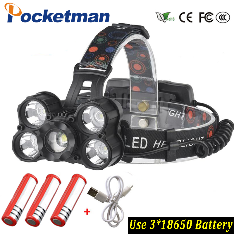 Super bright 30000LM T6x5 Led Flashlight use 3x 18650 batteyr Waterproof LED Headlamp ZOOM Headlight Fishing light Hunting uniquefire uf 1200 super bright cree u2 lamp flashlight light from outdoor hiking night fishing hunting led flashlight