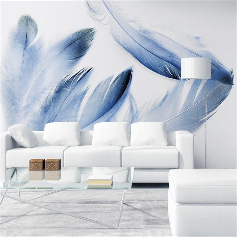 Desktop Wallpaper for Walls Modern Living Room Design Custom 3D Photo Wallpaper Mural Light Blue Feather Wall papers Room Decor custom 3d photo wallpaper waterfall landscape mural wall painting papel de parede living room desktop wallpaper walls 3d modern