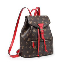 Купить с кэшбэком LAZZOVS 2019 Fashion Backpack For Women 2Color Printing Classic Pattern luxury Designer Women Travel Bags Mini Backpack
