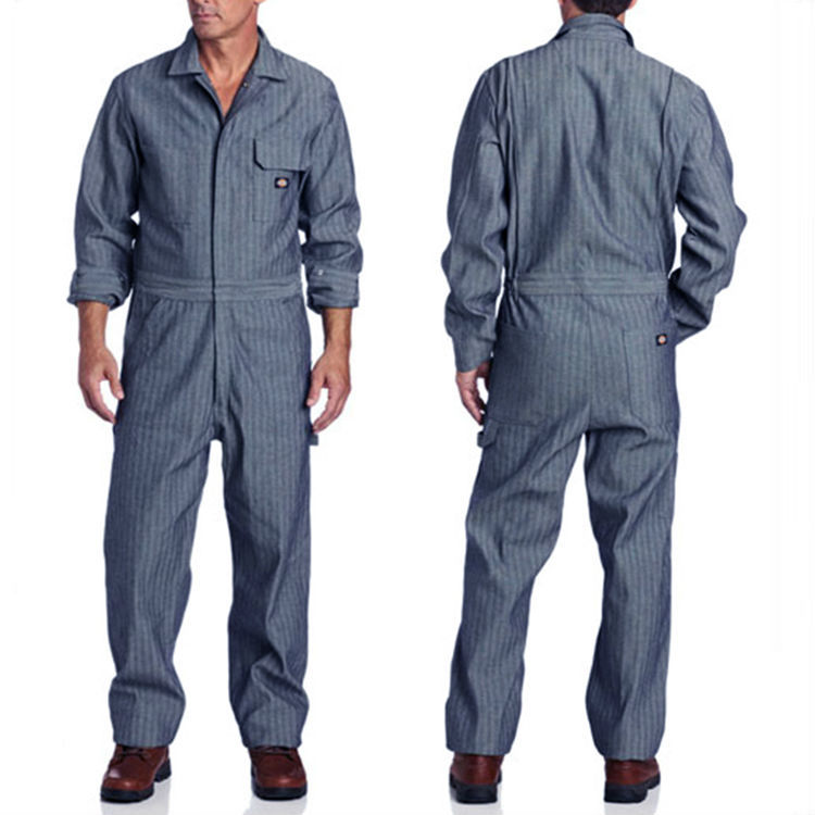 ФОТО Mens work clothing Fisher Stripe Coveralls 100% Cotton Uniform Safety clothes Auto Repair Ranch Gardens Conservation workwear