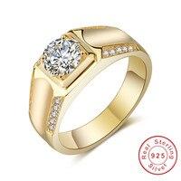 Оригинальные украшения решений 100% натуральная чистого серебра и золота кольца набор Sona Diamond Обручение обручальные кольца для мужчин мальчи...
