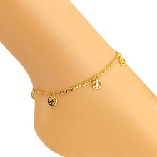 Gold Alloy Adjustable Bell Peace Sign Women Ankle Bracelet Barefoot Sandal Beach Foot Jewelry Women Birthday Gift