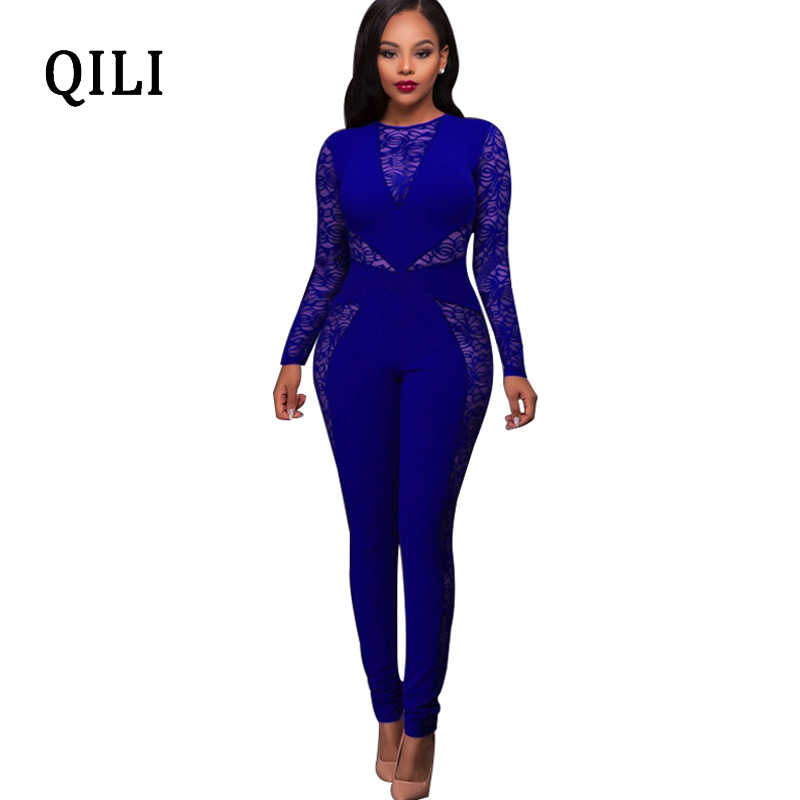 c31a74619828 QILI Lace Long Sleeve Women Jumpsuits 2018 Autumn Overalls Black Blue Red  Zipper Skinny Long Pants