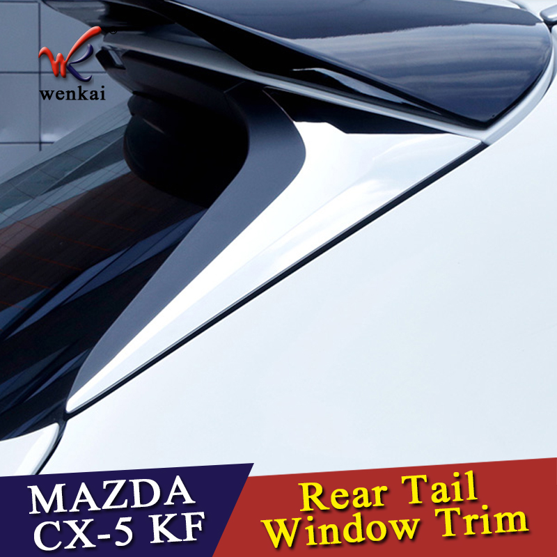 ABS <font><b>Accessories</b></font> For <font><b>Mazda</b></font> CX-5 <font><b>CX5</b></font> KF 2017 2018 <font><b>2019</b></font> Rear Tail Window Spoiler Triangle Molding Cover Kit Trim 2 Pcs / Set image