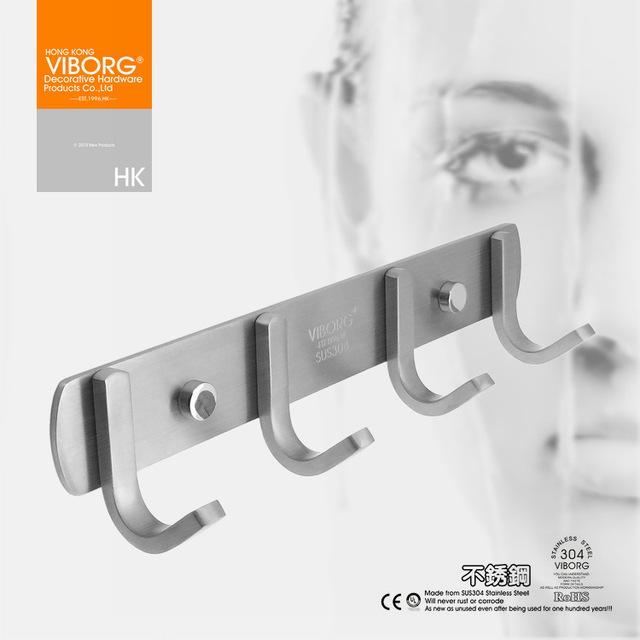 towel hooks. VIBORG (4 Hooks) Deluxe Solid SUS-304 Stainless Steel Bathroom Towel Hook Robe Hooks