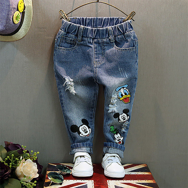 48550c334 New Arrive Baby Girl Jeans Kids Casual Distrressed Unisex Denim Pants Kids  Elastic Waist Loose Character