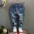 Nuevo Llega El Bebé Niña Vaqueros Niños Pantalones de Mezclilla Distrressed Ocasionales Unisex Niños Cintura Elástica de Caracteres Sueltos Pantalones Ropa de Niños