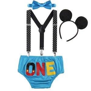 Милый маскарадный костюм Микки Мауса Для маленьких мальчиков и девочек, вечерние наряды на первый день рождения, комплект из 4 предметов, де...