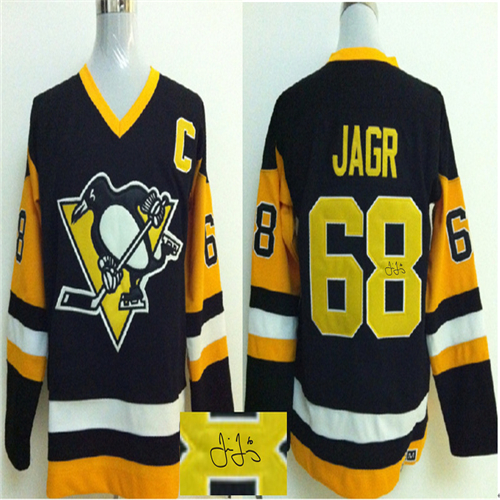 671a91c88f4 Wholesale Pittsburgh Penguins Hockey Jerseys 68 JAGR BLACK YELLOW C patch Stitched  Jersey cheap Penguins Sewn Hockey Jersey