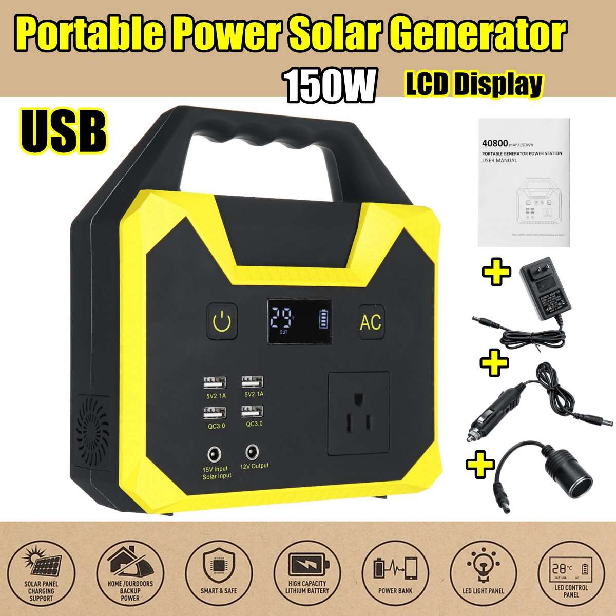 UPS Portable Generator Power Supply 220V 40800mah 150WH 200W 15A Solar Energy Storage USB Charger Portable Power Solar GeneratorUPS Portable Generator Power Supply 220V 40800mah 150WH 200W 15A Solar Energy Storage USB Charger Portable Power Solar Generator