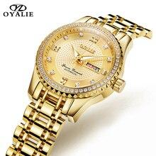 OYALIE Women Mechanical Wristwatch Top Brand Luxury Diamond Dial Gold Watches Week Date Steel Strap Ladies