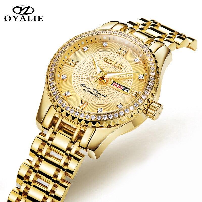 OYALIE Women Mechanical Wristwatch Top Brand Luxury Diamond Dial Gold font b Watches b font Week