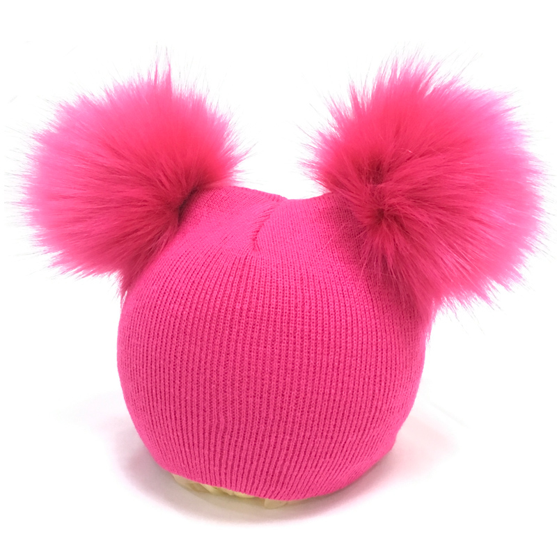 Accessories Mother & Kids Baby Pompom Hat Winter Warmer Caps Knitted Beanie Fur Pom Pom Gorro Bebe Boys Girls Kids Photography Props Cap 1pc