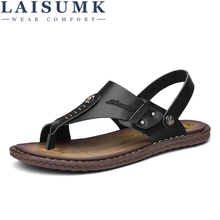 LAISUMK Summer Mens Leather Sandals Fashion Casual Male Genuine Men Shoes Beach