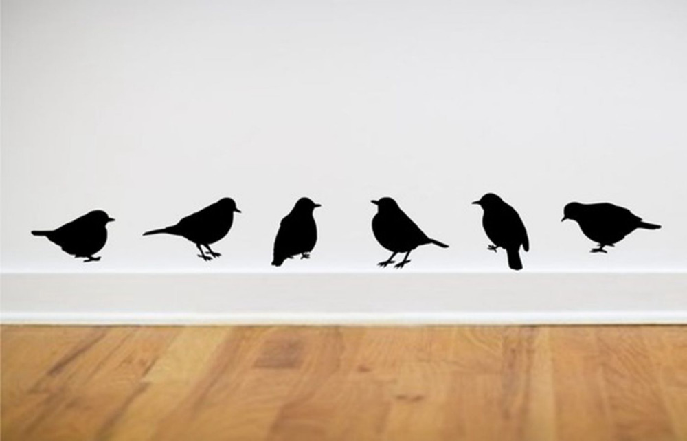Cute Wall Stickers Modern Home Art Decor Bird Wall Decals Living Room Vinyl  Decoration One Set 6 Pieces You Choose Color  In Wall Stickers From Home ...
