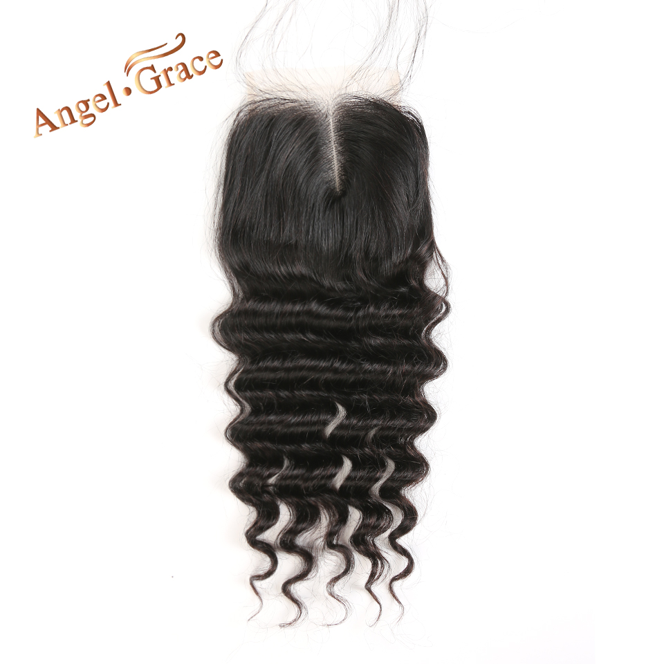 Angel Grace Hair Loose Wave Brazilian Remy Hair Lace Closure Free Middle Part Human Hair 4X4