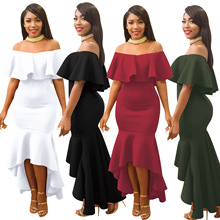 Womens Summer Holiday Ladies Sexy Off Shoulder Ruffles Dress