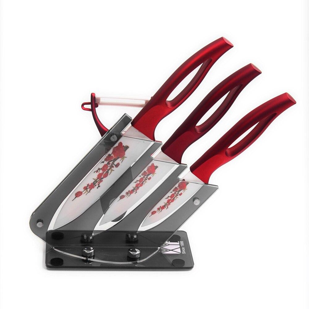 5pcs Set Ceramic Knife Set Red Flower Blade Slicing Utility Paring Kitchen Knife And A Peeler