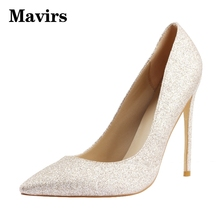 MAVIRS Glitter WomenHigh Heels Pointed Roe Thin Heels Big Size 34-45 2017 Spring Fashion OL Dress Party Shoes