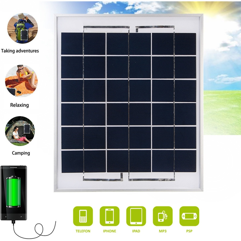 CLAITE 8W 9V 1.5A PolyCrystalline Solar Panel Dual USB Battery Charger Solar Cell Travelling Supply For Cell Phone Power Bank 12w dual usb folding solar charger solar panel module power bank outdoor emergency cell phone charger voltage current display