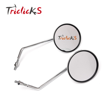 Triclicks Pair Left Right Rearview CNC Side Mirrors Aluminum Chrome Motorcycle Rear View Mirror For Most Motorcycles Handlebar