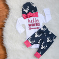 Nueva marca de ropa de bebé niñas niños ropa infantil ropa de la muchacha hola mundo flecha moda manga larga romper + pants + sombrero 3 unids
