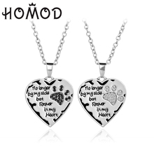 HOMOD 2019 New no Longer Be My Side But Forever In Heart Pink White Silver Crystal Cats Dogs Paws Claw Print & Neckla