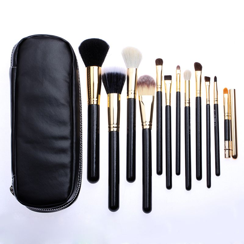 Professional  Makeup Brush tools 12 PCs Brush Cosmetic Make Up Set With 2 Case Bag Kit, Free shipping hot sale 2016 soft beauty woolen 24 pcs cosmetic kit makeup brush set tools make up make up brush with case drop shipping 31