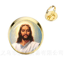 2018 New Style Blessed Virgin Mary Mother Of Baby Rings Jesus Christian Catholic Religious Glass Jesus Adjustable Rings For Gift(China)