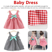 73-80cm Casual Summer Baby Girl Dress Cotton Print Floral Bow Infant Dresses Toddler Clothes lattice