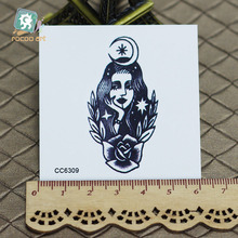 6X6cm Little Vintage Old School Style Black Beauty Girl Temporary Tattoo Sticker Body Art Water Transfer Fake Taty