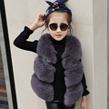 High Quality Fashion V-Neck Short Fur Coat Outwear Dark Gray warm short faux fox fur vests,girl's popular style leisure vests