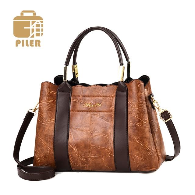 e298905e674 Piler Women Handbags 2019 Fashion Vintage Leather Ladies Crossbody Bags  Retro PU Leather Handbag Female Designer Boston Hand Bag