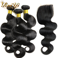 """Brazilian Body Wave Closure 4""""x4"""" Virgin Hair Brazilian Body Wave 3 Bundles With Free Style Lace Closures Rosa Hair Products"""
