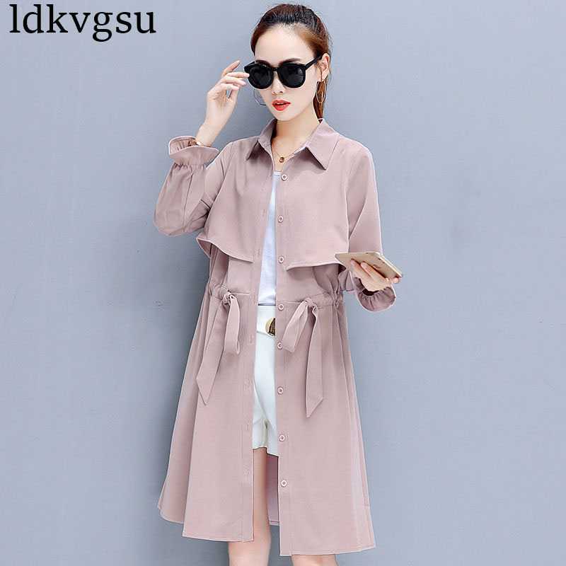 2019 High quality Fashion Autumn Women Long Windbreaker Coat Casual Drawstring Long Sleeve Spring Women's Cloak   Trench   Coat A684