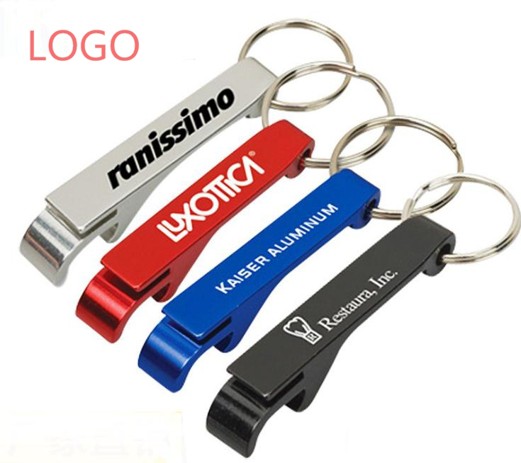 500pcs/lot Free Shipping Promotion Customed Printed Logo Gift Metal Aluminum Alloy Bottle Opener Metal Keychain Laser LOGO SN083