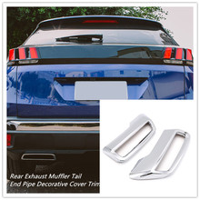 For Peugeot 3008 5008 Allure 2017 2018 2019 ABS Chrome Rear Exhaust Muffler Tail End Pipe Cover Trim Auto Accessories 2pcs(China)