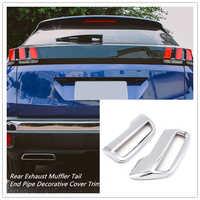 Pour Peugeot 3008 5008 Allure 2017 2018 2019 ABS Chrome silencieux d'échappement arrière tuyau de queue garniture accessoires Auto 2 pièces