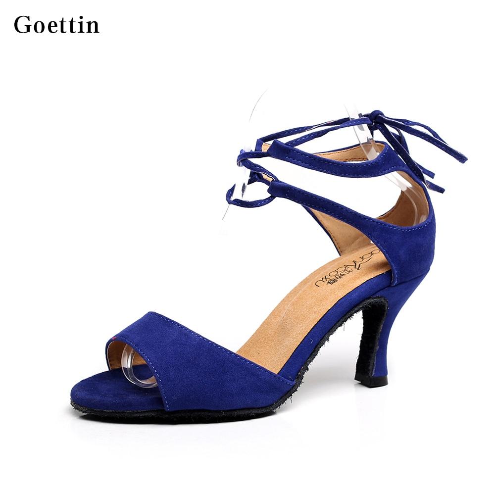 2017 Baru Kedatangan Biru Merah Sepatu Dansa Ballroom Salsa Sepatu Gadis Sepatu Dansa Latin untuk Wanita
