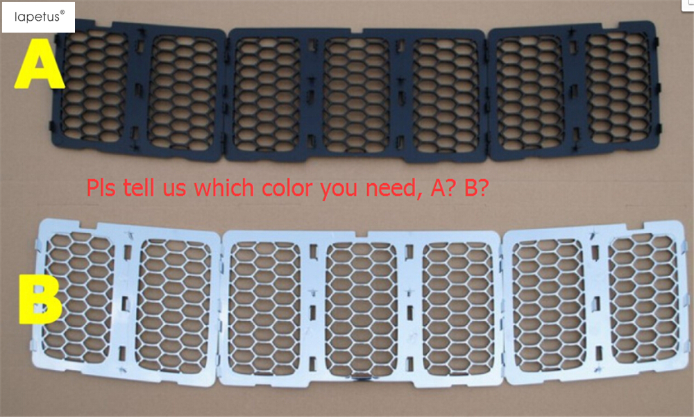 2 Color ! Accessories For Jeep Grand Cherokee 2014 2015 2016 Front 3D Mesh Racing Grilles Honeycomb Grid Net Cover Kit Trim abs chrome front head light eyelid cover trim for jeep grand cherokee 2014 2015
