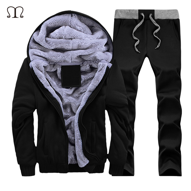 Men Tracksuit Set Casual Hooded Warm Tracksuit Sportwear Thick Fleece Slim Fit Hoodie 2 PCS Sets Jacket + Pants Track Suits Male