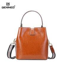 купить GENMEO New Arrival Genuine Leather Luxury Bucket Handbag Women Cow Leather Shoulder Bag Female Cowhide Tote Bags Feminina Bolsa по цене 4920.66 рублей