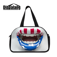 Dispalang Travel Bag USA Flag on Lips Print Travel Duffle Handbags Waterproof Luggage Bags Large Capacity Weekend Overnight Bag